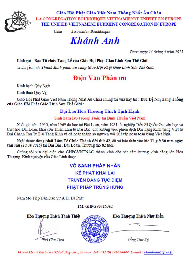 Dien Thu Phan Uu_Giao Hoi Au Chau