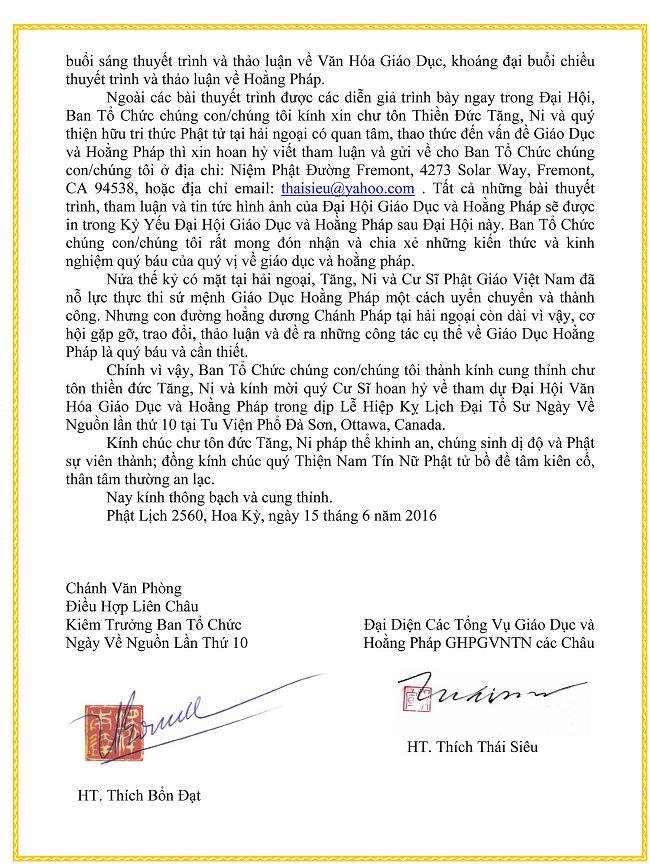 Thong Bach Dai Hoi Giao Duc Hoang Phap 2016_2