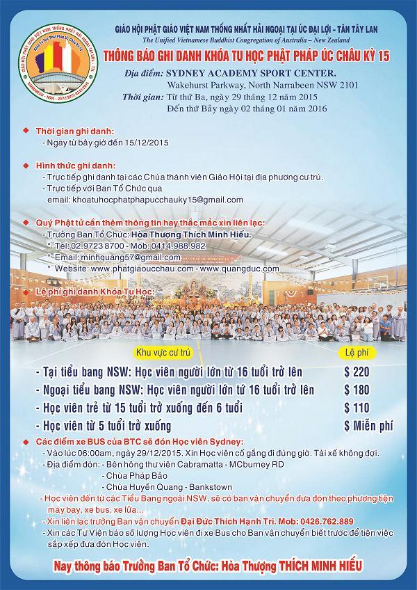 Khoa tu hoc Phat phap Uc Chau ky 15 tai Sydney