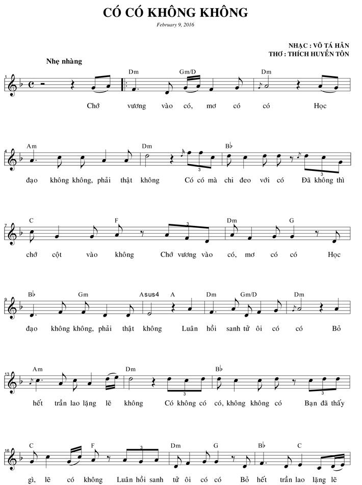 Nhạc phẩm Có Có Không Không, thơ của HT Huyền Tôn, nhạc của Võ Tá Hân-1