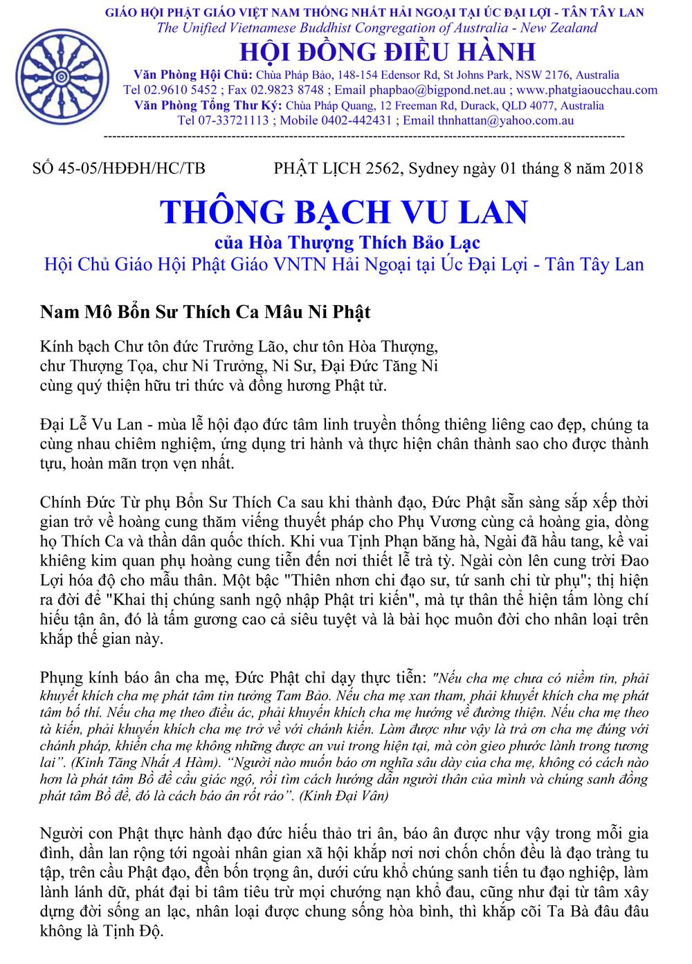 Thông Bạch Vu Lan PL 2562_HT Hội Chủ Thích Bảo Lạc-1