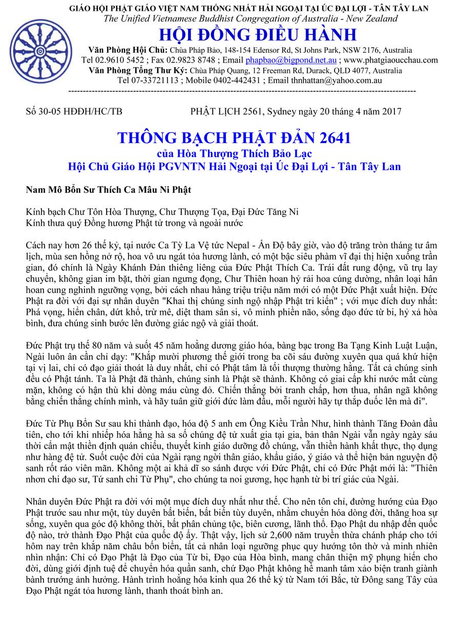 Thông Bạch Phật Đản Phật Lịch 2561 – HT Thích Bao Lac-1