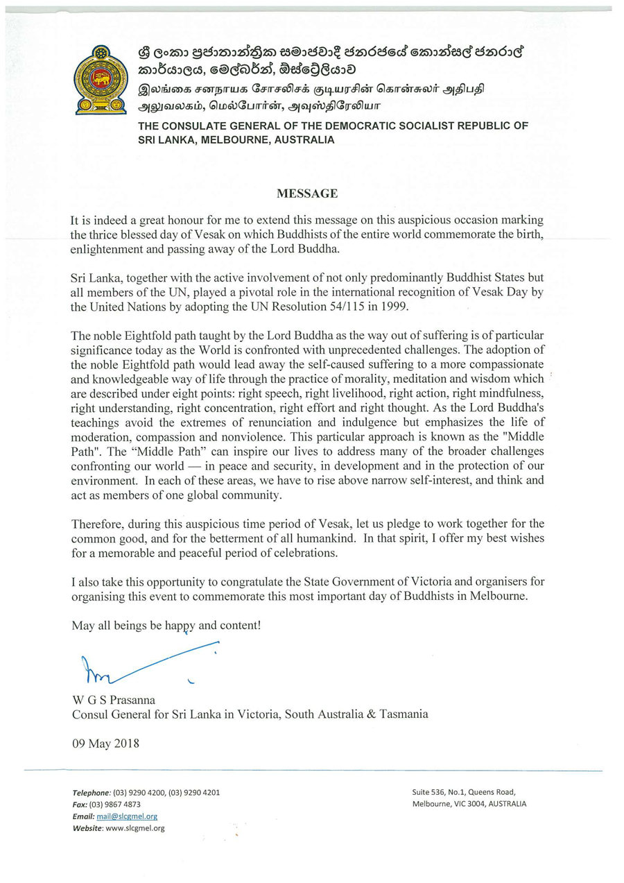 Srilankia_Message of the Consul General for the Victorian United Nations Day of Vesak  - 2018