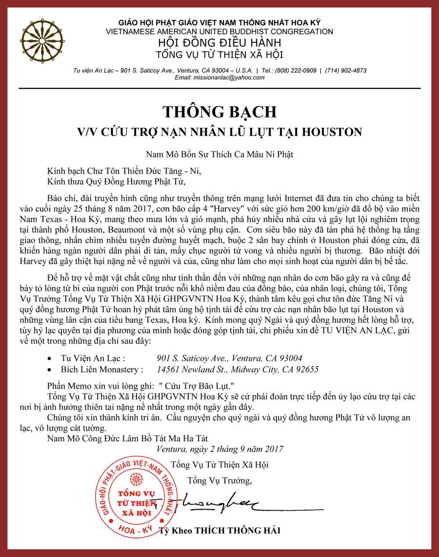 Thong Bach Cuu Tro_Houston_HT THich Thong Hai