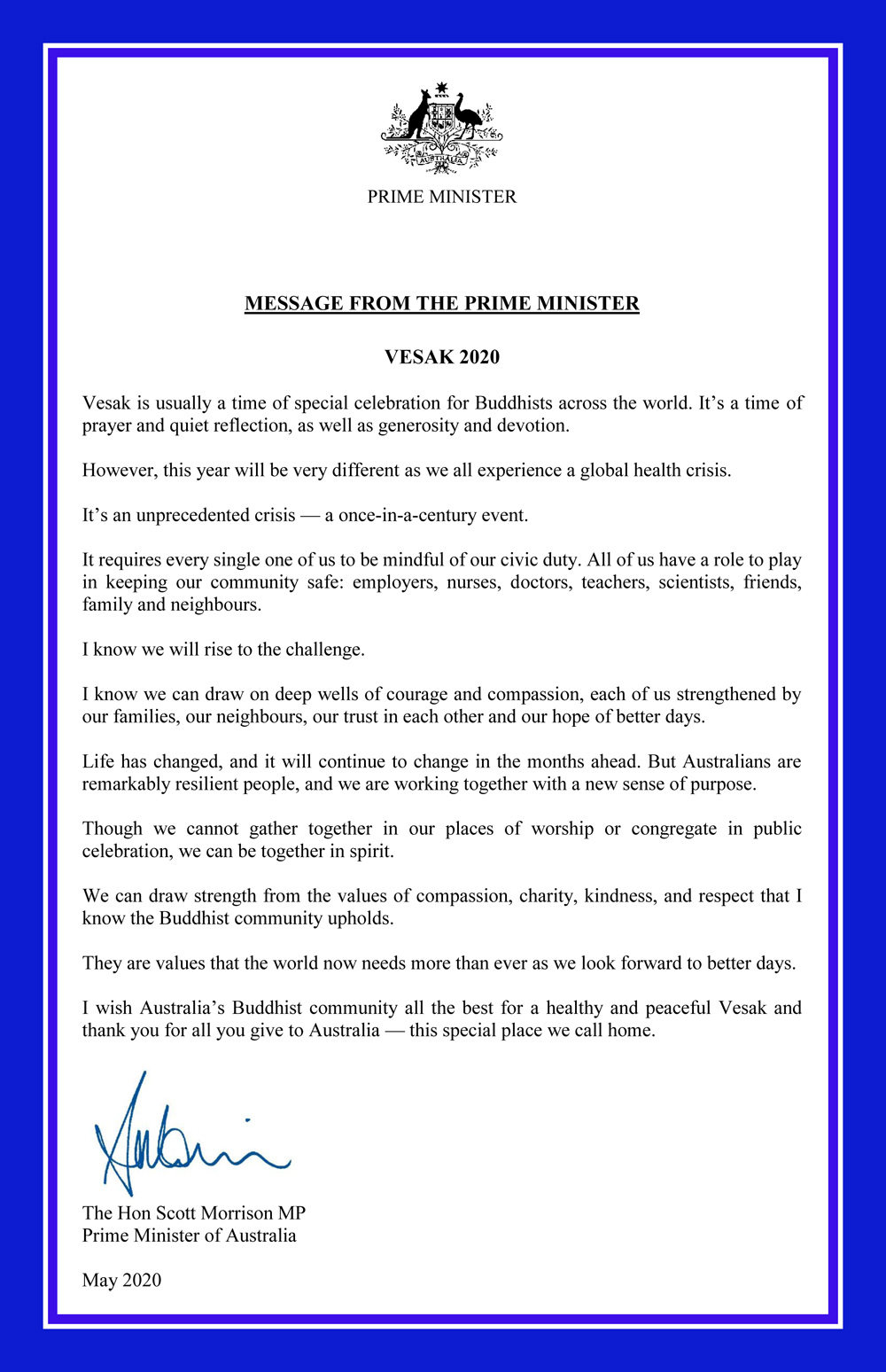 Vesak 2020_The Hon Scott Morrison