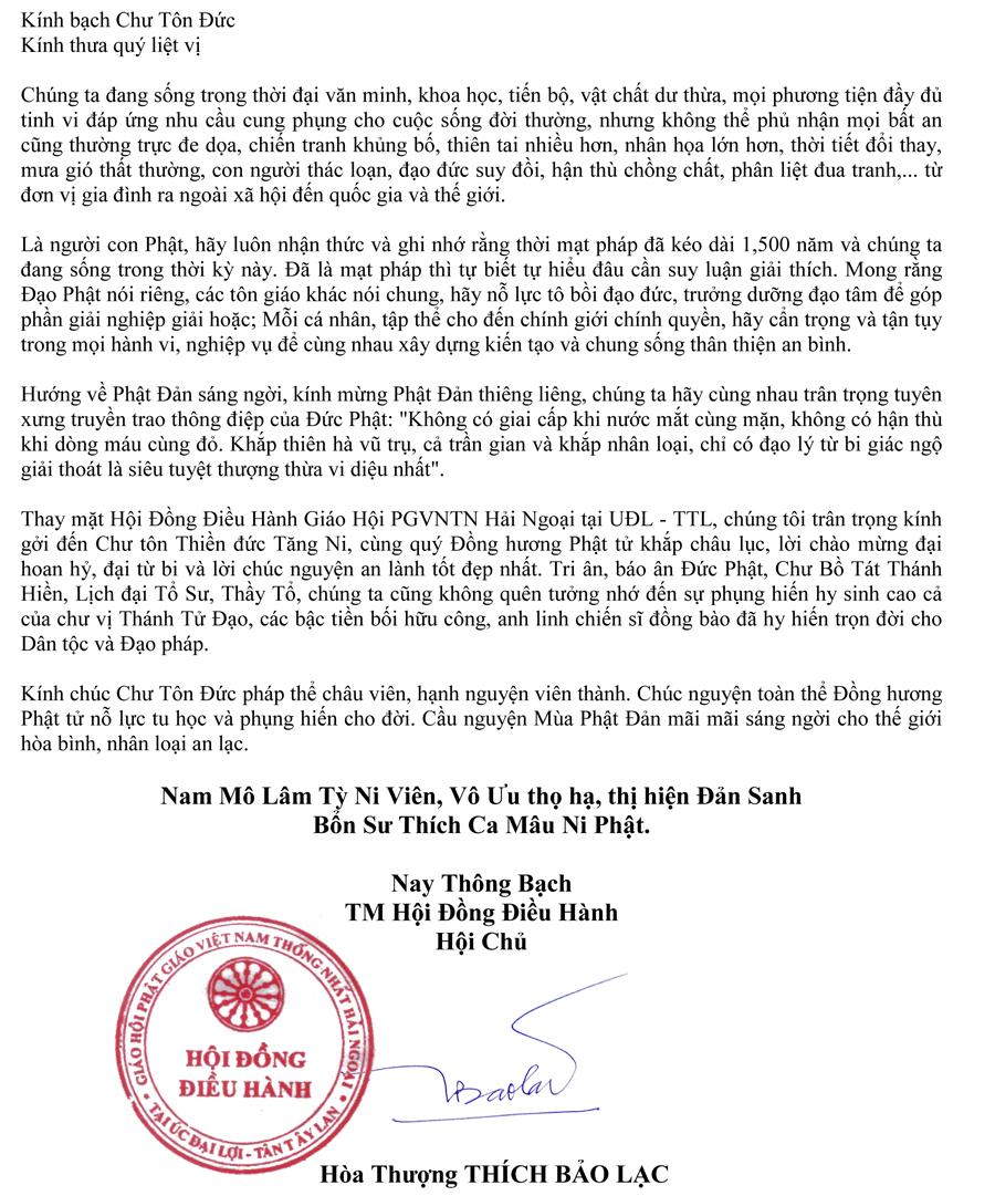 Thông Bạch Phật Đản Phật Lịch 2561 – HT Thích Bao Lac-2