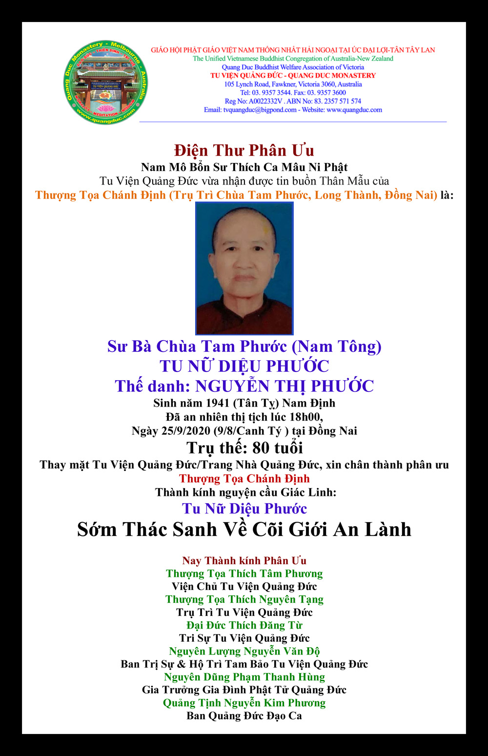Dien Thu Phan uu_Thuong Toa Chanh Dinh-2020