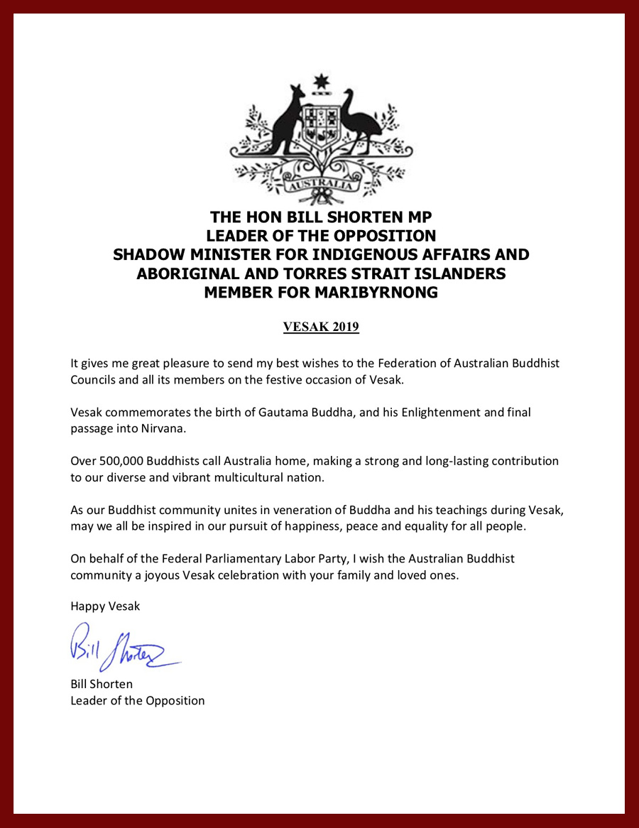 bill shorten-vesak 2019